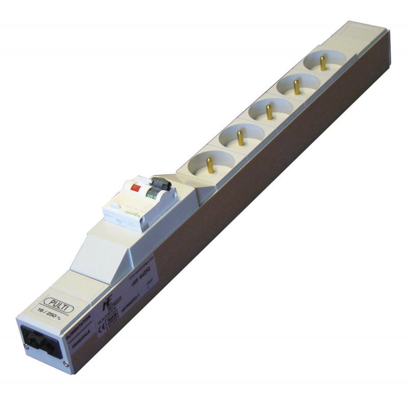 Bloc 5 prises avec disjoncteur 30 mA et connectique wealand