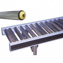 Convoyeur gravitaire à rouleaux libres acier largeur 450 mm