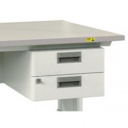 Bloc suspendu 2 tiroirs - Dimensions utiles : L 255 x P 400 x H 75 mm