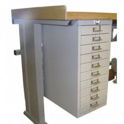 Bloc suspendu 10 tiroirs - Dimensions utiles : L 235 x P 378 x H 51 mm
