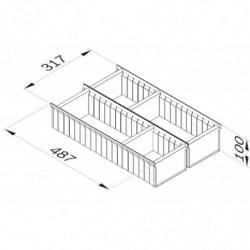 Aménagement de tiroir réglable L 317 x P 487 x H 100 mm