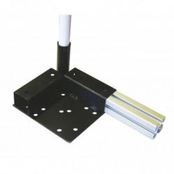 Platine d'angle support roulettes à embase sur profilé alu