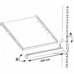 Support latéral en porte à faux pour tablette avec fixations sur montants perforés