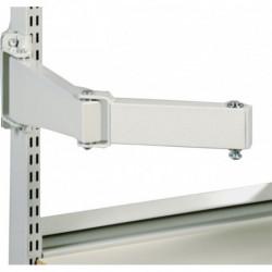 Bras acier double articulation pour charge lourde avec fixations pour montants perforés