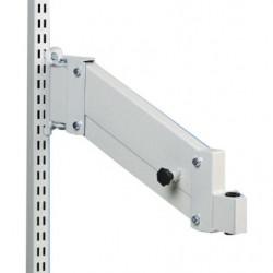 Bras acier hauteur réglable pour fixation sur montants perforés