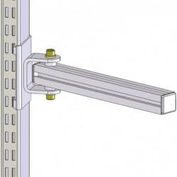 Support en profilé aluminium pour fixation sur montants perforés