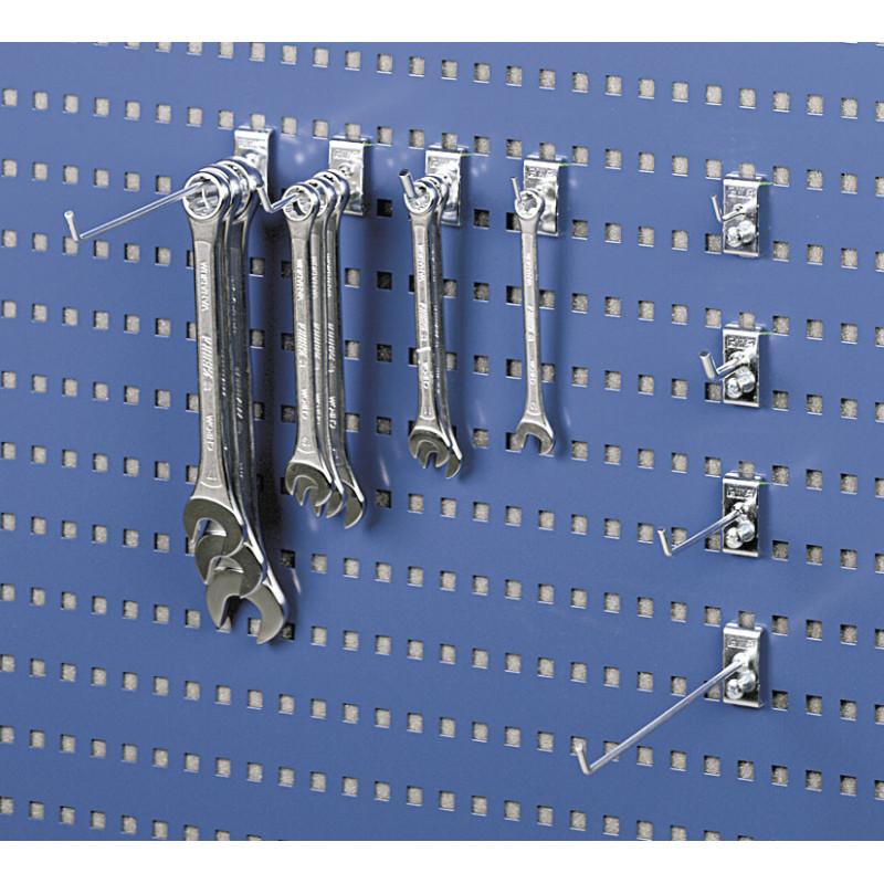 Crochet pour rangement de clés plates sur panneau perforé