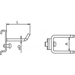 Dimensions crochet pour suspension d'outil sur panneau perforé