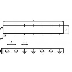Dimensions crochet support 7 tournevis pour panneau perforé