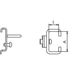Dimensions crochet support pince pour panneau perforé