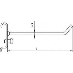 Dimensions support incliné 2 tiges pour suspension d'outil sur panneau perforé