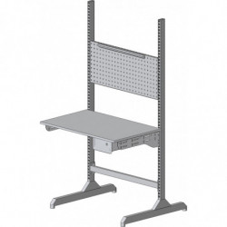 Poste contrôle qualité modulaire avec structure montants perforés