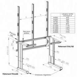 Poste de travail ergonomique hauteur réglable - Structure TPAL double cadre