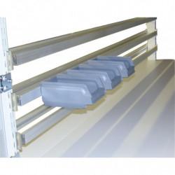 Traverse bacs à bec en profilé aluminium pour fixation sur montants perforés