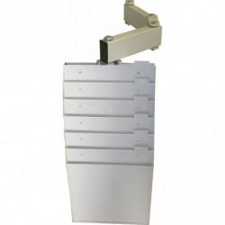 Casiers supports dossiers sur bras articulé avec fixations pour profilé aluminium