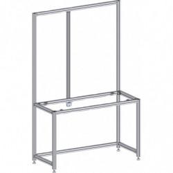 Poste de travail ergonomique hauteur fixe - Structure AL avec double cadre alu