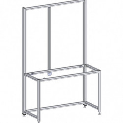 Poste de travail ergonomique hauteur fixe - Structure AL double cadre