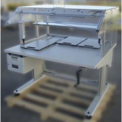 Poste de travail ergonomique ajustable en hauteur - Structure à manivelle avec cadre frontal