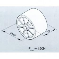 Rail à galets cylindriques sur profilé aluminium