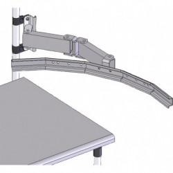 Bras double porte-bacs à bec pour poste de travail en tube Lean