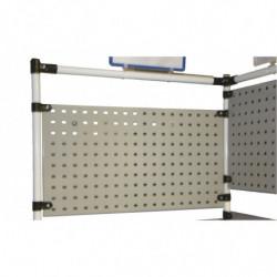 Panneau perforé métallique H 200 mm pour poste de travail en tube Lean