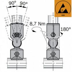 Jonction articulée 2 tubes à 90°