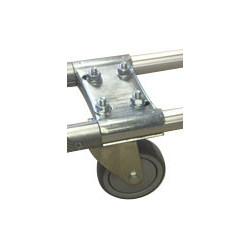 Platine support roulettes à embase sur tubes parallèles