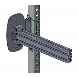 Bras articulé en profilé aluminium pour fixation sur montants perforés