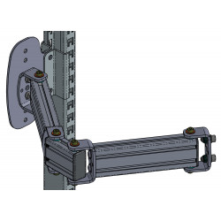 Bras 4 articulations en profilés aluminium pour fixation sur montants perforés