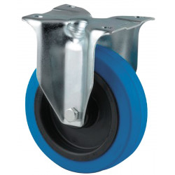 Roulette à platine fixe Ø 125 mm bleu