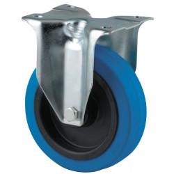 Roulette à platine fixe Ø 100 mm bleu