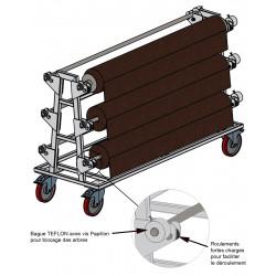 Chariot d'approvisionnement pour 6 rouleaux de tissu