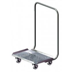 Chariot inox rouleur de casiers, bacs et caisses avec dossier de poussée