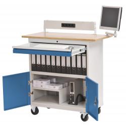 Bureau informatique mobile avec rangements et bras articulé pour écran plat