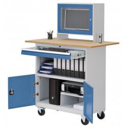 Bureau informatique mobile avec rangements et compartiment de protection pour écran plat