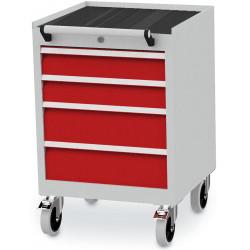Bloc-tiroirs configuré avec 4 tiroirs, un rebord relevé sur 3 côtés et un tapis caoutchouc cannelé