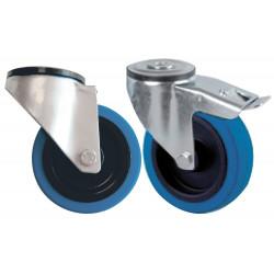 Jeu de 4 roulettes pivotantes avec bandage caoutchouc bleu dont 2 avec frein