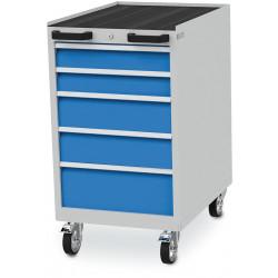Bloc-tiroirs configuré avec 5 tiroirs, un rebord relevé sur 3 côtés et un tapis caoutchouc cannelé
