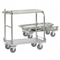 Chariot tout aluminium pliable avec 2 plateaux