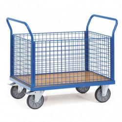 Chariot multifonction à ridelles en treillis métallique