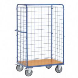 Chariot pour colis avec ridelles en treillis