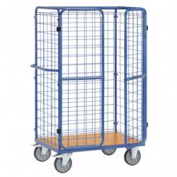 Chariot pour colis avec ridelles et portes battantes en treillis