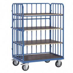 Chariot haut à plateaux avec ridelles en tubes pour charge lourde