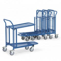 Chariot emboitable 2 plateaux en treillis