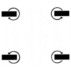 4 roues pivotantes