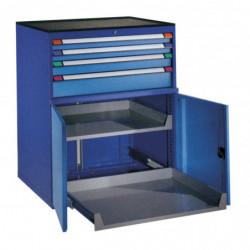 Armoire à portes battantes, 4 tiroirs et 2 rayons extensibles