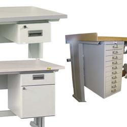 Bloc-tiroirs sous plateau L 218 à 302 mm
