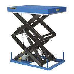 Table élévatrice hydrau-électrique à doubles ciseaux superposés