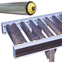 Convoyeur gravitaire à rouleaux libres acier (axes hexagonaux Ø 11 mm)
