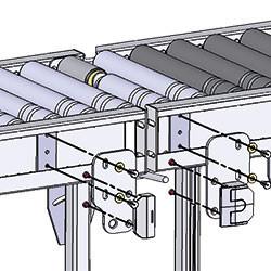 Portillon à rouleaux motorisés avec entraînement par courroies toriques